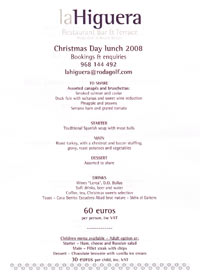 Xmas day lunch